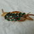vintage Coro signed green crystal navettes leaf brooch