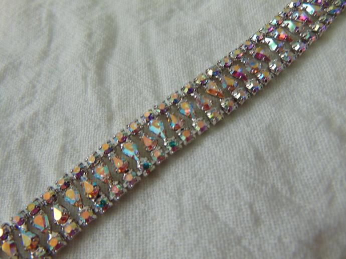 vintage B.David signed silver aurora borealis crystal tear drops bracelet