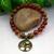 Carnelian and Picasso Jasper Gemstone Stretch Bracelet with Brass Tree of Life