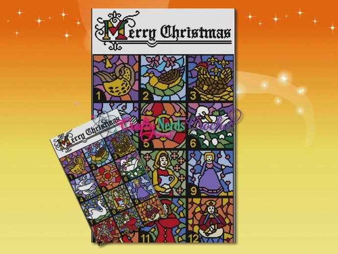 Christmas Stained Glass Bundle Single Crochet SC Pattern Graph with Written