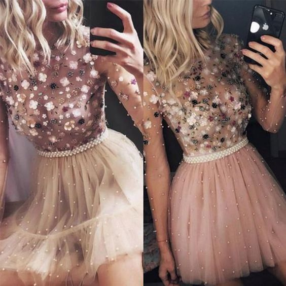 beaded prom dresses short homecoming dresses dusty pink 3d flowers cheap prom