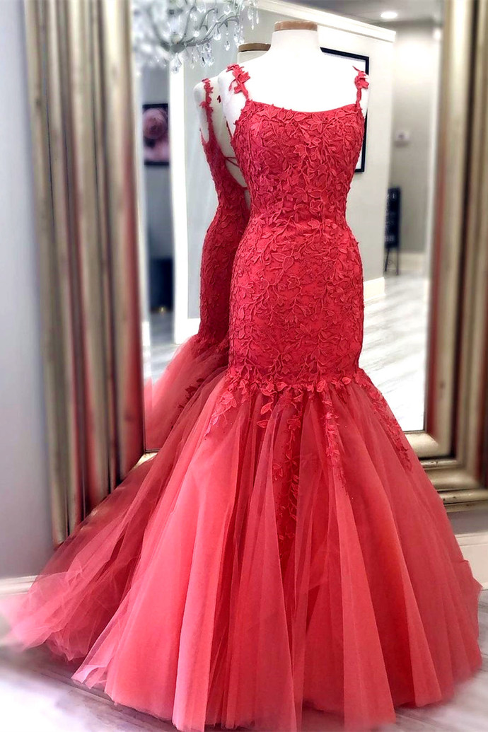 Red Prom Dress for women,Tulle Prom Gown,Appliques Evening Dress,Mermaid Prom