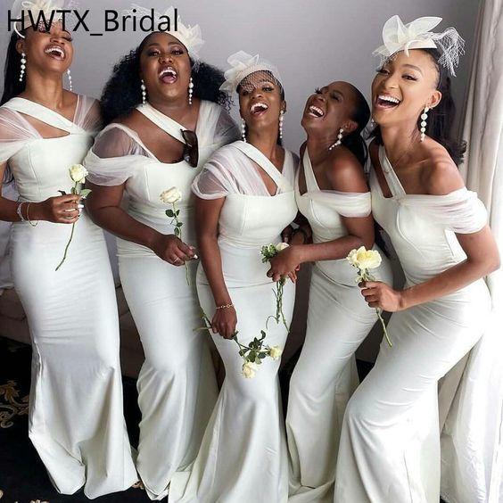 off white bridesmaid dresses long mermaid elegant modest cheap custom wedding