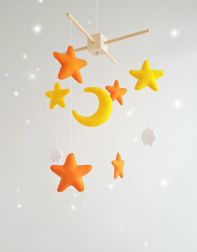 Baby nursery mobile, orange yellow felt stars baby crib mobile, handmade felt