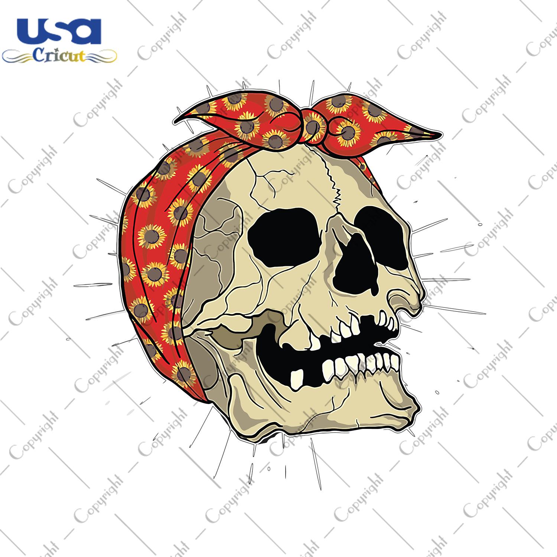 Sunflower Skull Svg, Trending Svg, Sunflower Shirt, Sunflower Gift, Skullcap