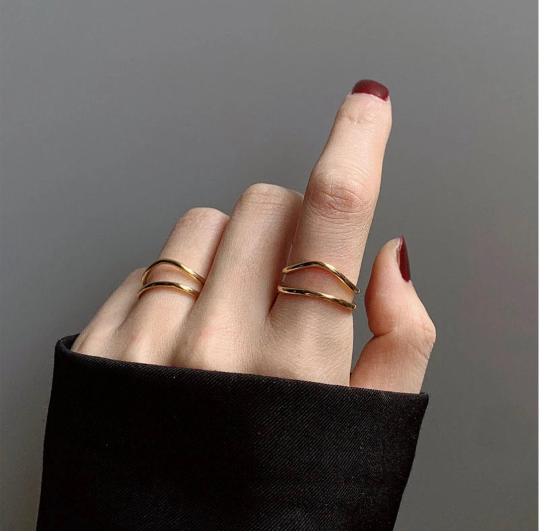 Charming 925 Sterling Silver Gold Rings For Woman Gold Double-layered Party