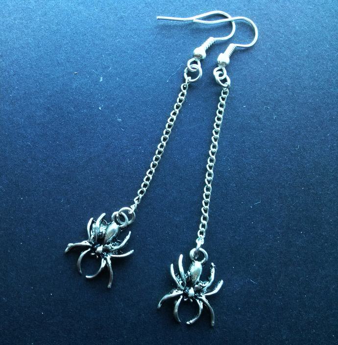 Silver Plate Long Dangling Spider Earrings Gothic Halloween
