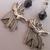 Silver Plate Black Ab Crystal Anubis Jackal God Egyptian Heiroglyph Earrings