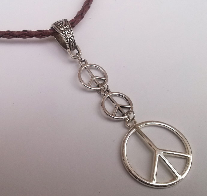 Brown Leather Silver Plate Triple Peace Sign Long Pendant Necklace