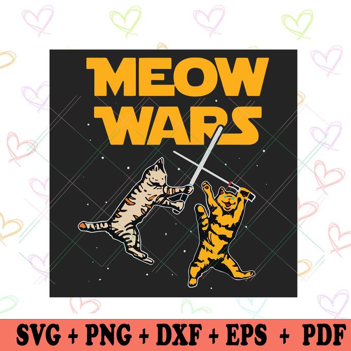 Meow Wars Svg, Star Wars Svg, Cat Svg, Fighting Cat Svg, Star Wars Cat Svg,