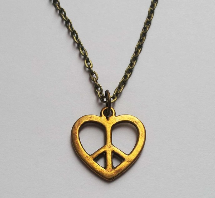 Bronze Peace Sign Heart Necklace Retro Hippy 60s Gift