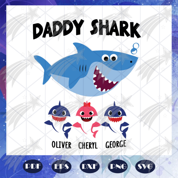 Daddy Shark svg, baby shark svg, gift for him svg, gift for papa shark svg,