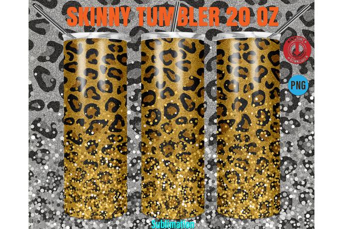 20oz Skinny Tumbler Design Cheetah Leopard Animal Print,Straight & Tapered