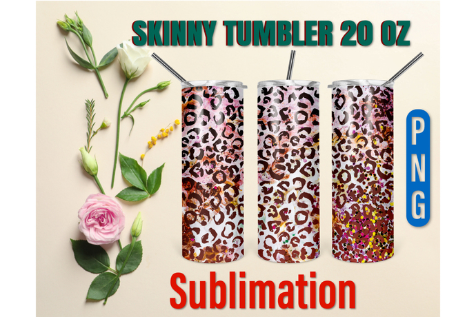 20oz Skinny Tumbler Design Cheetah Print Sublimation,Straight & Tapered