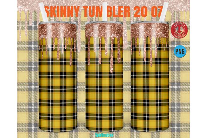20oz Skinny Tumbler Design Buffalo Plaid Sublimation glitter,Straight & Tapered