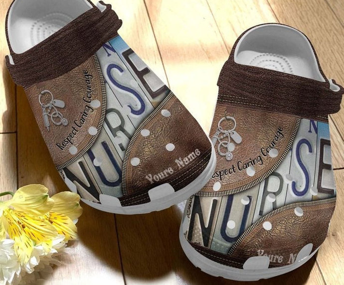 Respect caring courage, custom name crocs, save life nurse crocs, women shoes,