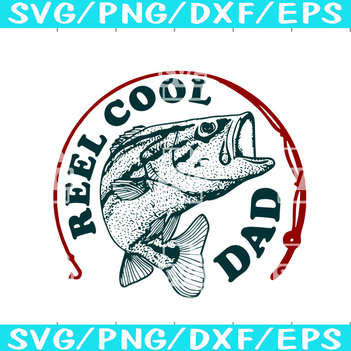 Download Reel Cool Dad Sticker Svg Fathers Day By Silk River Studio On Zibbet