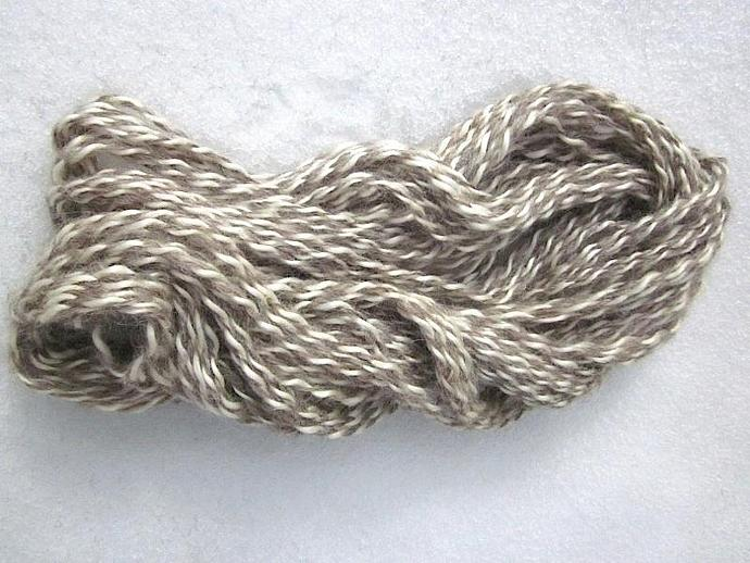 Homespun White Mohair and Grey Wool Double-Ply Yarn