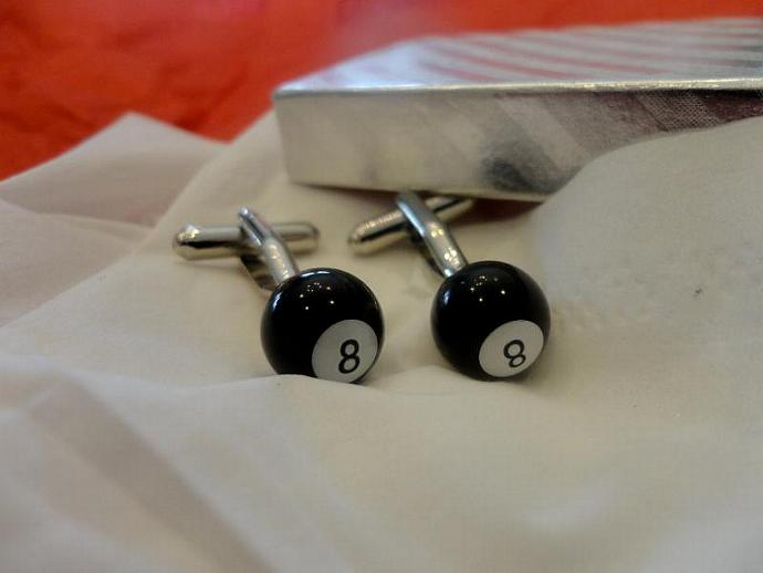 billiard cufflinks 8ball with gift box