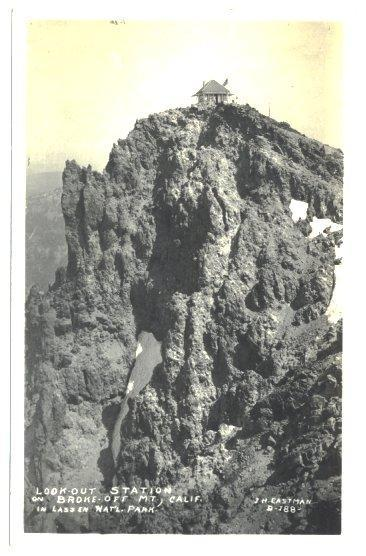 Vintage Real Photo Postcard Look Out Station on Broke Off Mountain Lassen