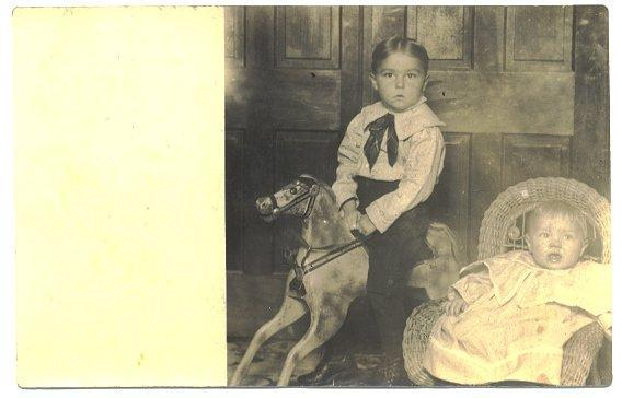 Antique Real Photo Postcard Boy on Rocking Horse Baby in Wicker Chair