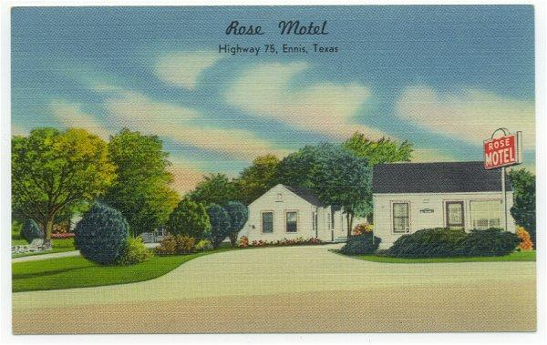 Vintage Postcard Rose Motel Hwy 75 Ennis Texas Town View 1940s Roadside Travel