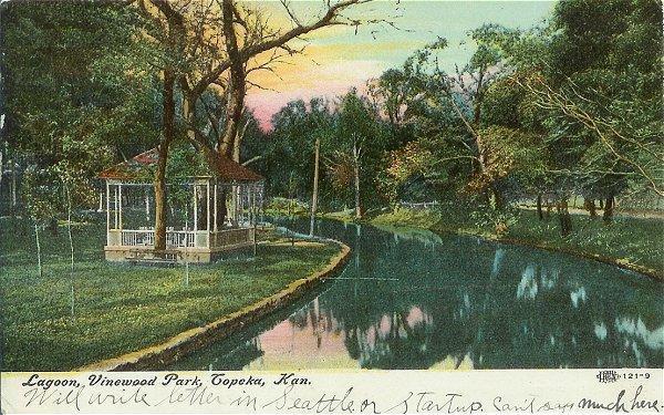 1910s Town View Postcard Lagoon Vinewood Park Topeka Kansas