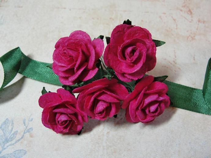 Rich Velvety Pink colored 1-inch Mulberry Paper Roses