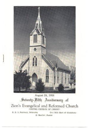 1958 Anniversary Book Booklet Zion Evangelical Church Gladstone Nebraska