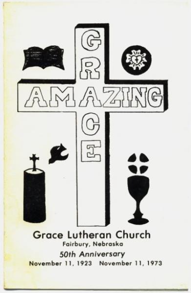 Grace Lutheran Church 1973 Anniversary Book Booklet Fairbury Nebraska History