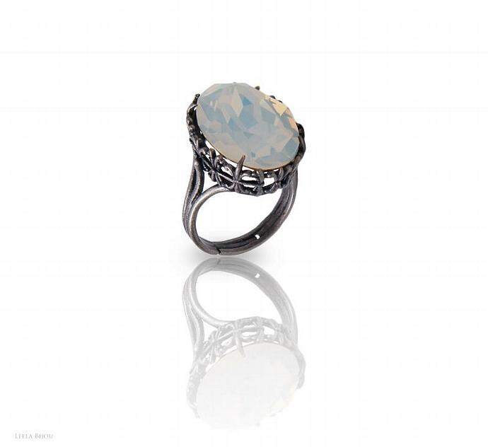 White Opal Ring Swarovski Crystal Silver Plated Crystal Clear