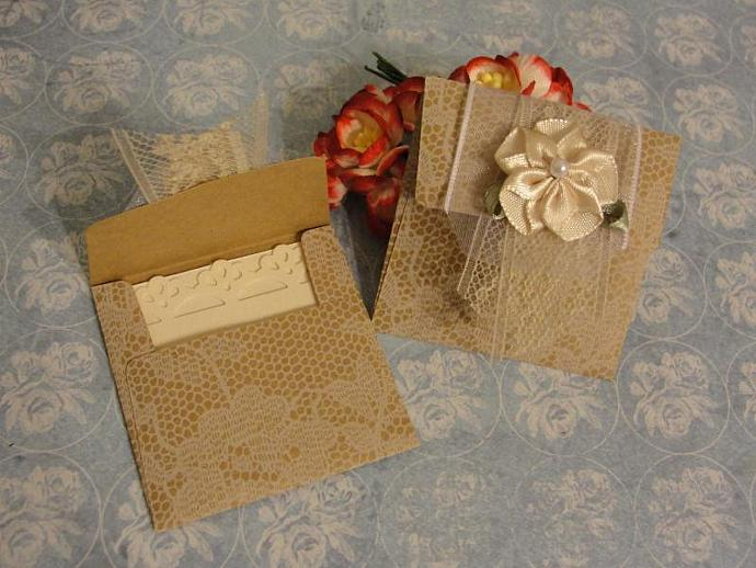 Little Treasures Lace Print Mini Envelopes w/Ribbon Flower Accents
