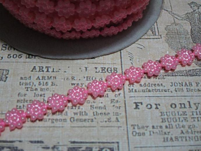1yd - Mini Carnation Pink Daisy Pearl Trim