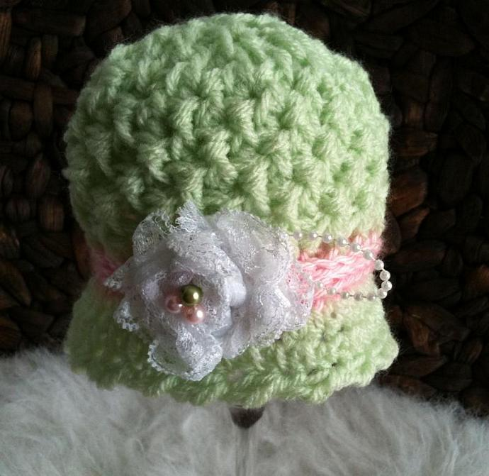 Newborn Wafflestitch Cloche - Cool Mint w/Strawberry Pink Band