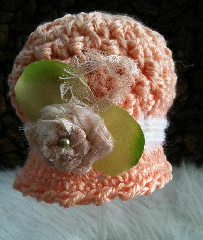 Newborn Wafflestitch Cloche - Spring Peach