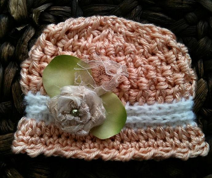 Newborn Wafflestitch Cloche - Spring Peach