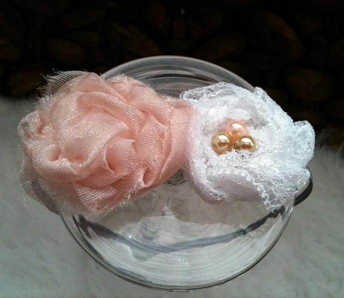 Newborn Headband - Chantilly Pink n Lace