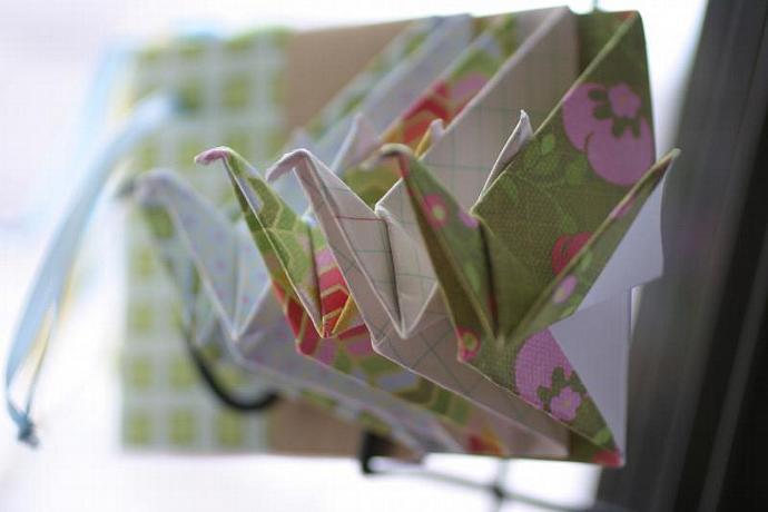 Crane origami gift tags