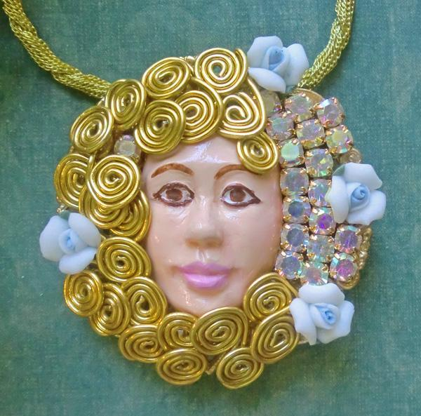 Flower fairy nymph goddess whimsical custom hand painted pendant and hand