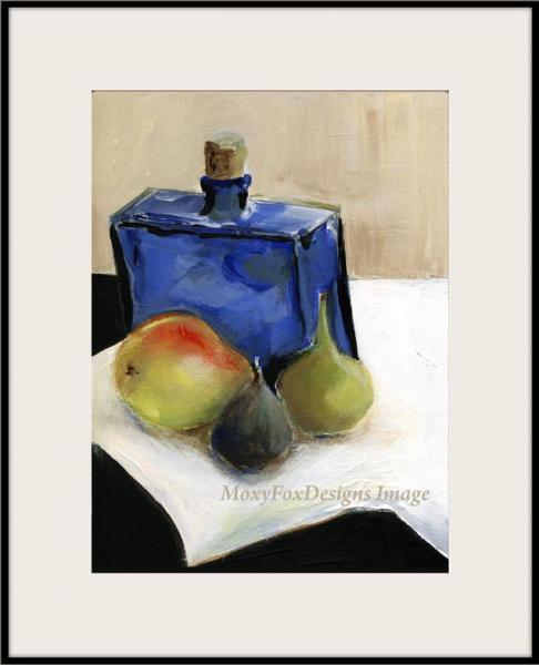 Art -- BLUE BOTTLE with PEAR and FIGS Print from Original Painting Glass Bottle
