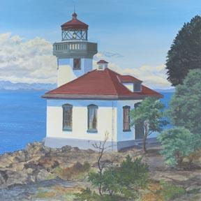 """Lime Kiln Lighthouse"" Canvas Giclee Print San Juan Island Washington by Carol"