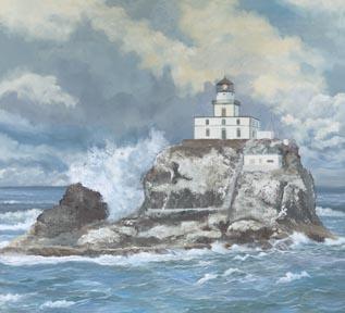 """Tillamook Rock Lighthouse"" Canvas Giclee Print Oregon Coast by Carol Thompson"