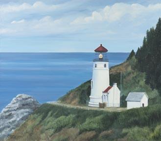 """Heceta Head Lighthouse"" Canvas Giclee Print Oregon Coast by Carol Thompson"