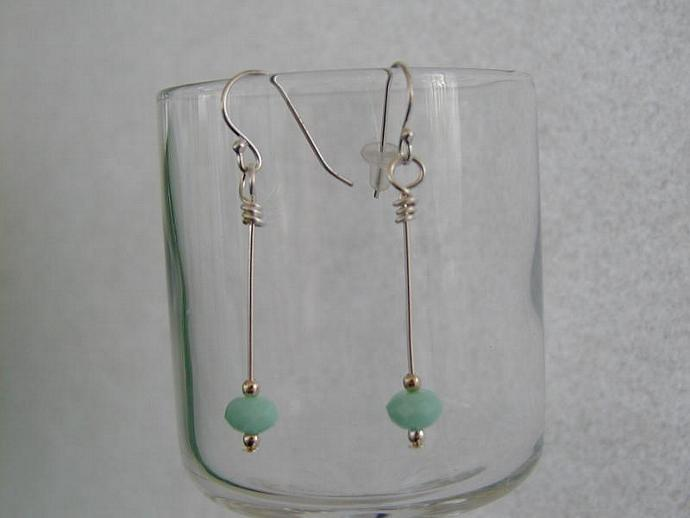 Thin Metal Line (Mint) Earrings
