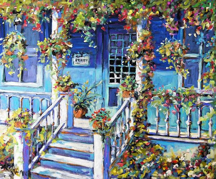 Country Porch and Flowers original Canadian oil painting
