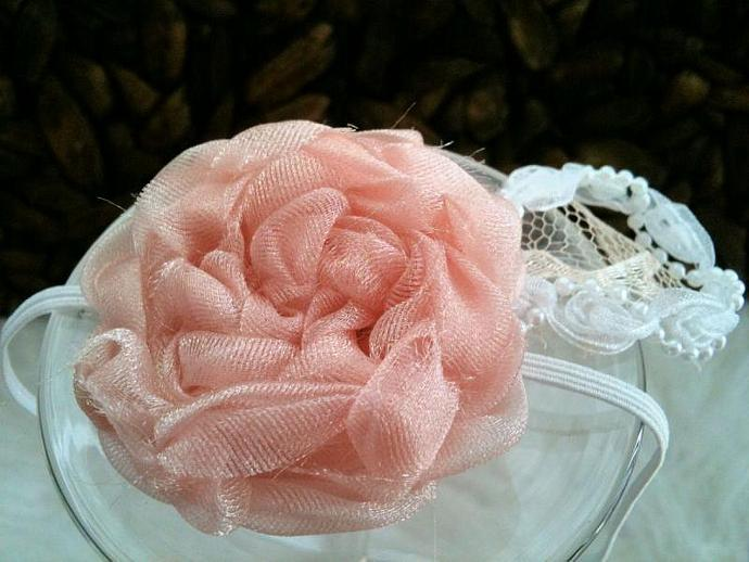 Newborn Chantilly Pink Organza Headband
