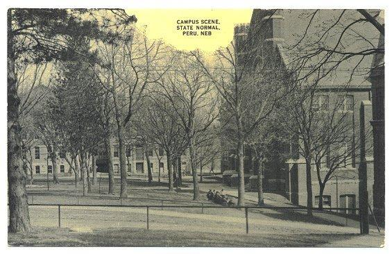 Antique Postcard 1910s Campus Scene State Normal Peru Nebraska College