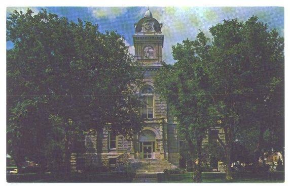 Town View Postcard Jefferson County Courthouse Fairbury Nebraska