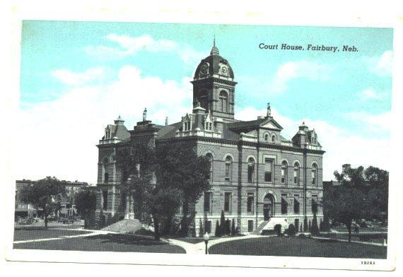 Vintage Town View Postcard Court House Fairbury Nebraska