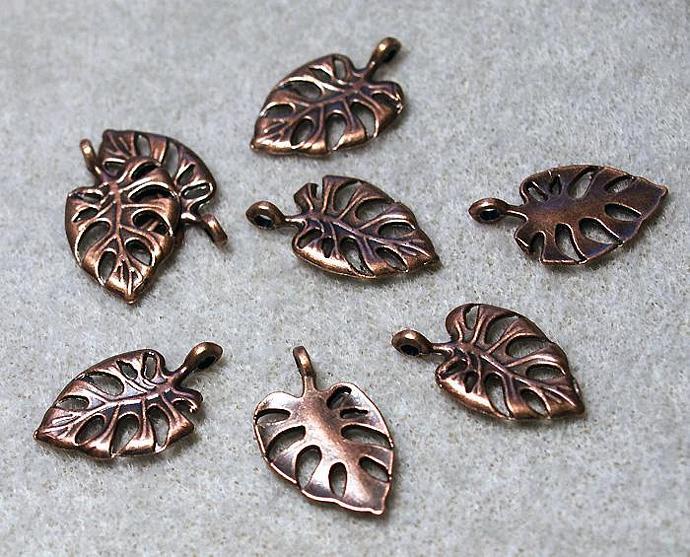 Copper Hawaiian Leaf- charms- pendants